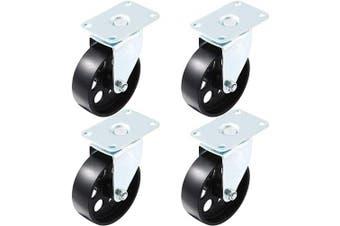 (10cm  No Brake) - 4 All Steel Swivel Plate Caster Wheels Heavy Duty High-gauge Steel (10cm No Brake)