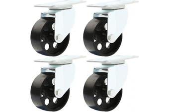 (7.6cm  No Brake) - Online Best Service 4 All Steel Swivel Plate Caster Wheels Heavy Duty High-Gauge Steel 680kg Total Capacity (7.6cm No Brake)