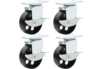 (7.6cm  With brake) - 4 All Steel Swivel Plate Caster Wheels w Brake Lock Heavy Duty High-Gauge Steel (7.6cm with Brake)