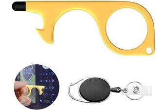 No Touch Door Opener Tool EDC Brass Hand Keychain Tool with Retractable Badge Holder