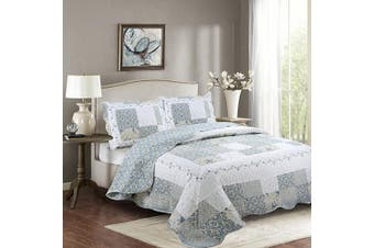 (King/California King, White Blue Floral) - Fancy Collection 3pc California King Bedspread Bed Cover Floral White Blue Beige Reversible New # Isabelle