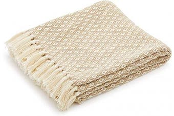(Omala Camel and White Mini Diamond) - Americanflat Omala Throw Blanket in Camel and Beige Mini Diamond - 100% Cotton with Fringe - 130cm x 150cm