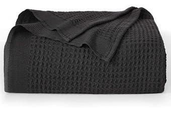 (Twin, Black) - Bedsure 100% Cotton Thermal Blanket - 405GSM Soft Blanket in Waffle Weave for Home Decoration - Perfect for Layering Any Bed for All-Season - Twin Size (170cm x 230cm ), Black