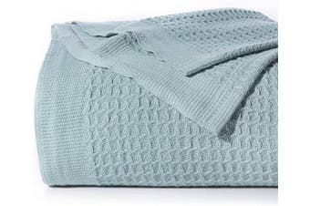 (Queen, Mint) - Bedsure 100% Cotton Thermal Blanket - 405GSM Soft Blanket in Waffle Weave for Home Decoration - Perfect for Layering Any Bed for All-Season - Queen Size (230cm x 230cm ), Mint