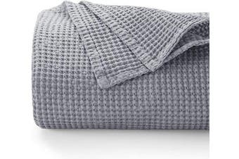 (Queen, Grey) - Bedsure 100% Cotton Blanket - Blanket with Waffle Pattern for Home Decoration - Perfect for Layering Any Bed for All-Season - Queen Size (230cm x 230cm ), Grey