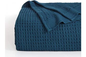 (King, Teal) - Bedsure 100% Cotton Thermal Blanket - 405GSM Soft Blanket in Waffle Weave for Home Decoration - Perfect for Layering Any Bed for All-Season - King Size (260cm x 230cm ), Teal