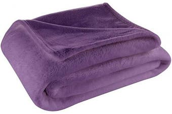 (Full / Queen, Purple) - Cosy House Collection Full/Queen Size Fleece Blanket – All Season, Lightweight & Plush Hypoallergenic - Microfiber Blankets for Bed, Couch or Travel - Purple
