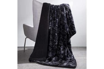 (Throw(130cm  x 150cm ), Black) - Bedsure Faux Fur Reversible Tie-dye Sherpa Throw Blanket - Super Soft Fuzzy Fluffy Plush Throws, Fleece Blanket for Bed Sofa Couch Chair Fall Winter Spring Living Room(130cm x 150cm , Black)