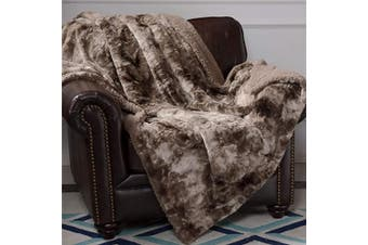 (Throw(130cm  x 150cm ), Chocolate) - Bedsure Faux Fur Reversible Tie-dye Shaggy Blanket Throw for Sofa, Couch and Bed - Super Soft Fuzzy Fluffy Fleece Throw Furry Shag Blanket (130cm x 150cm , (ChocolateCoffee, Brown)
