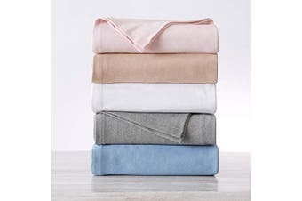 (King (260cm  x 230cm ), Blue) - Premium Cotton Blanket. Soft, Cosy, Breathable and Ideal for Layering Any Bed. Lyla Collection. (King, Blue)