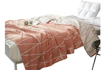 (F/Q 200cm  X 230cm , Stripe Orange) - MEJU Stripe Muslin Lightweight Summer Blanket for Bed Sofa Couch, 100% Combed Cotton 4 Layer Soft Warm Quick Dry Throw Blanket Bed Coverlet Sheet (Stripe Orange, F/Q 200cm X 230cm )