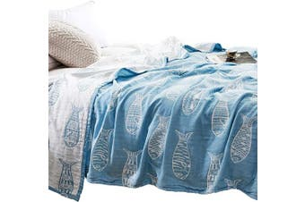 (F/Q 200cm  X 230cm , Fish Blue) - MEJU Fish Muslin Lightweight Summer Blanket for Bed Sofa Couch, 100% Combed Cotton 4 Layer Soft Warm Quick Dry Throw Blanket Bed Coverlet Sheet (Fish Blue, F/Q 200cm X 230cm )