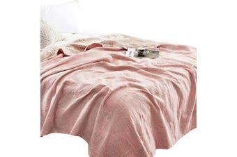 (Twin 150cm  X 200cm , Coral Pink) - MEJU Coral Muslin Lightweight Summer Blanket for Bed Sofa Couch, 100% Combed Cotton 3 Layer Soft Warm Quick Dry Throw Blanket Bed Coverlet Sheet (Coral Pink, Twin 150cm X 200cm )