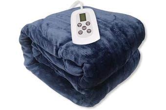 (Full, Dark Blue) - Westerly Full Size Microplush Electric Heated Blanket, Dark Blue