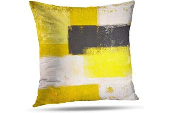 (20X20, Yellow and Grey Art) - Alricc Yellow and Grey Abstract Art Modern Pillow Cover, Decorative Throw Pillows Cushion Cover for Bedroom Sofa Living Room 50cm x 50cm