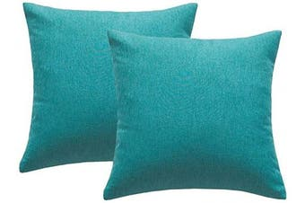 (46cm  x 46cm , Turquoise) - 4TH Emotion Outdoor Waterproof Throw Pillow Covers Garden Cushion Case for Patio Couch Sofa Polyester Cotton Home Decoration Pack of 2, 46cm X 46cm Turquoise