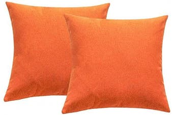(46cm  x 46cm , Orange) - 4TH Emotion Outdoor Waterproof Throw Pillow Covers Garden Cushion Case for Fall Patio Couch Sofa Polyester Cotton Home Decoration Pack of 2, 46cm X 46cm Orange