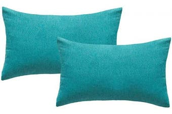 (30cm  x 50cm , Turquoise) - 4TH Emotion Outdoor Waterproof Lumbar Pillow Covers Garden Cushion Case for Patio Couch Sofa Polyester Cotton Home Decoration Pack of 2, 30cm X 50cm Turquoise