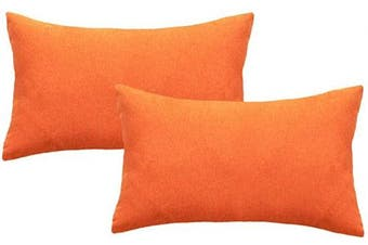 (30cm  x 50cm , Orange) - 4TH Emotion Outdoor Waterproof Lumbar Pillow Covers Garden Cushion Case for Fall Patio Couch Sofa Polyester Cotton Home Decoration Pack of 2, 30cm X 50cm Orange