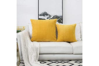 (60cm  x 60cm , 1 Pack, Primrose Yellow) - UGASA Velvet Pillow Covers Striped, Decorative Throw Cushion Case with Hidden Zipper for Home Couch/Bedroom/Car, Soft Cosy Solid Square, 1 Pack (60cm x 60cm , Primrose Yellow)