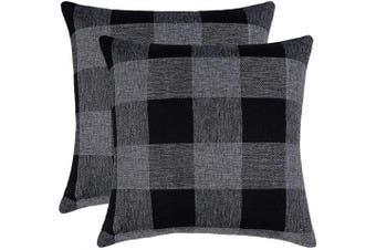 (46cm  x 46cm , Black & Grey) - 4TH Emotion Set of 2 Black Grey Buffalo Cheque Plaid Throw Pillow Covers Cushion Case Cotton Linen for Sofa, 46cm x 46cm
