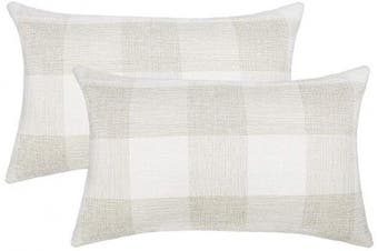 (30cm  x 50cm , Cream & White) - 4TH Emotion Set of 2 Beige and White Buffalo Cheque Plaid Farmhouse Throw Pillow Covers Cushion Case Cotton Linen for Sofa, 30cm x 50cm