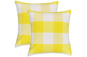 (50cm  x 50cm , Yellow & White) - 4TH Emotion Set of 2 Yellow and White Buffalo Cheque Plaid Throw Pillow Covers Cushion Case Cotton Linen for Sofa, 50cm x 50cm