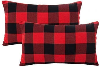 (30cm  x 50cm , Red & Black) - 4TH Emotion Set of 2 Christmas Buffalo Cheque Plaid Throw Pillow Covers Lumbar Oblong Rectangle Cushion Case Cotton Polyester for Farmhouse Home Decor Red and Black, 30cm x 50cm