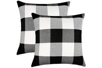 (41cm  x 41cm , Black & White) - 4TH Emotion Set of 2 Farmhouse Buffalo Cheque Plaid Throw Pillow Covers Cushion Case Cotton Linen for Fall Home Decor Black and White, 41cm x 41cm