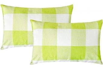 (30cm  x 50cm , Bright Green & White) - 4TH Emotion Set of 2 Bright Green White Buffalo Cheque Plaid Throw Pillow Covers Cushion Case Spring Home Decor Cotton Linen, 30cm x 50cm