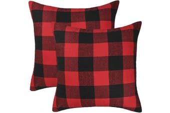 (60cm  x 60cm , Red & Black) - 4TH Emotion Set of 2 Christmas Buffalo Cheque Plaid Throw Pillow Covers Cushion Case Cotton Polyester for Farmhouse Home Decor Red and Black, 60cm x 60cm