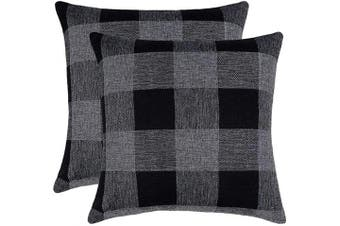 (41cm  x 41cm , Black & Grey) - 4TH Emotion Set of 2 Black Grey Buffalo Cheque Plaid Throw Pillow Covers Cushion Case Cotton Linen for Sofa, 41cm x 41cm