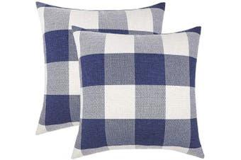 (50cm  x 50cm , Navy Blue & White) - 4TH Emotion Set of 2 Navy Blue Buffalo Cheque Plaid Throw Pillow Covers Cushion Case Cotton Linen for Sofa, 50cm x 50cm
