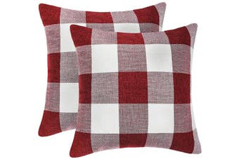 (60cm  x 60cm , Red & White) - 4TH Emotion Set of 2 Red and White Buffalo Cheque Plaid Throw Pillow Covers Cushion Case Cotton Linen for Christmas Home Decor, 60cm x 60cm