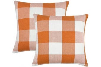 (41cm  x 41cm , Orange & White) - 4TH Emotion Set of 2 Orange and White Buffalo Cheque Plaid Throw Pillow Covers Cushion Case Cotton Linen for Fall Farmhouse Home Decor, 41cm x 41cm