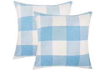 (41cm  x 41cm , Sky Blue & White) - 4TH Emotion Set of 2 Sky Blue and White Buffalo Cheque Plaid Throw Pillow Covers Cushion Case Home Decor Cotton Linen, 41cm x 41cm