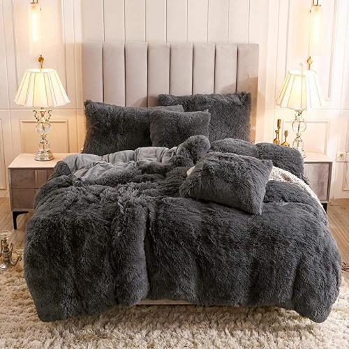 King Dark Gray Uhamho Faux Fur Velvet Fluffy Bedding Duvet Cover Set Down Comforter Quilt Cover With Pillow Shams Ultra Soft Warm And Durable King Dark Grey Matt Blatt