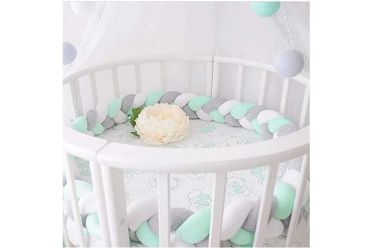 (Grau+Weiß+Grün) - Queta Bed Border Braided Bed Snake Baby cot Bumper Baby cot Bumper Weaving Edge Protection Head Protection Length 2 m Decoration for Crib