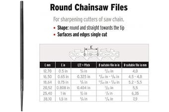 """(8"""" X 3/16"""") - Corona CF4050316SC0CD Round Chainsaw Smooth Cut File Carded, 20cm by 0.5cm"""