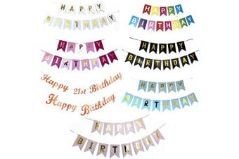 (Blue With Gold) - Happy Birthday Bunting Banner, Birthday Card Banner, Birthday Decoration (Blue with gold)