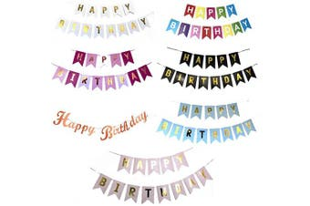 (White With Gold) - Blue Planet Fancy Dress Happy Birthday Bunting Banner, Birthday Card Banner, Birthday Decoration (White with gold)