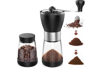 AVNICUD Manual Coffee Grinder,Adjustable Setting Conical Burr Mill,Portable Hand Coffee Grinder With Two Clear Glass Jars 160ml Each,Hand Crank for Precision Brewing