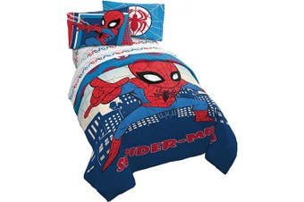 (Twin, Blue - Spiderman) - Marvel Super Hero Adventures Go Spidey 4 Piece Twin Bed Set - Includes Reversible Comforter & Sheet Set Bedding Features Spiderman - Super Soft Fade Resistant Microfiber - (Official Marvel Product)