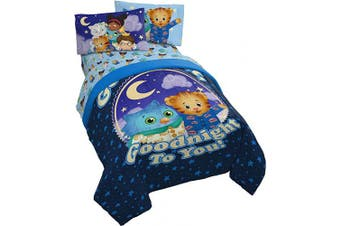 (Twin, Blue - Daniel Tiger) - Jay Franco Daniel Tiger Good Dreams 4 Piece Twin Bed Set - Includes Comforter & Sheet Set - Bedding Features O The Owl - Super Soft Fade Resistant Microfiber (Official Daniel Tiger Product)