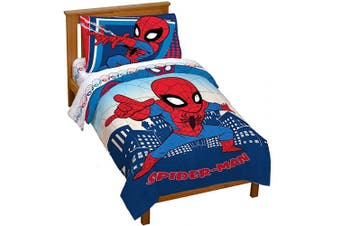 (Toddler, Blue - Spiderman) - Marvel Super Hero Adventures Go Spidey 4 Piece Toddler Bed Set – Super Soft Microfiber Bed Set Includes Toddler Size Comforter & Sheet Set - Bedding Features Spiderman (Official Marvel Product)