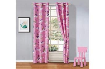 (Curtain I) - Kids Zone Home Linen 2 Panels Curtain Set Unicorn Rainbow Castle Stars Pink Purple Multi - Colour New