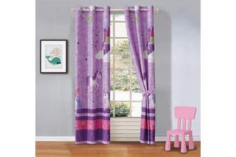 (Curtain II) - Kids Zone Home Linen 2 Panel Window Curtain Set Unicorn Castle Rainbow Stars Purple Lavender Pink Lavender/Purple for Girls Teen-Girls New