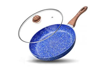 (20cm , Blue) - MICHELANGELO Small Frying Pan with Lid, 20cm Frying Pan with 100% APEO & PFOA-Free Stone-Derived Nonstick Interior, Stone Frying Pan, Small Egg Pan 20cm , Granite Frying Pan Nonstick - 20cm