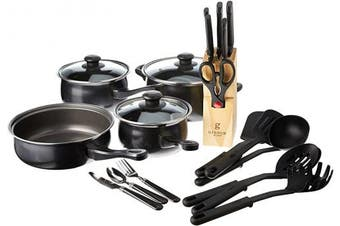 Gibson Home Back to Basics Kitchen Cookware Set, 32-Piece, Black