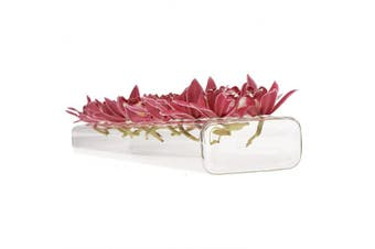 (Large) - Chive - Hudson 24 Hole Flute, 60cm Long Rectangle Unique Clear Glass Bud Flower Vase, Low Laying Elegant Centrepiece, Home Decor Weddings (Large)